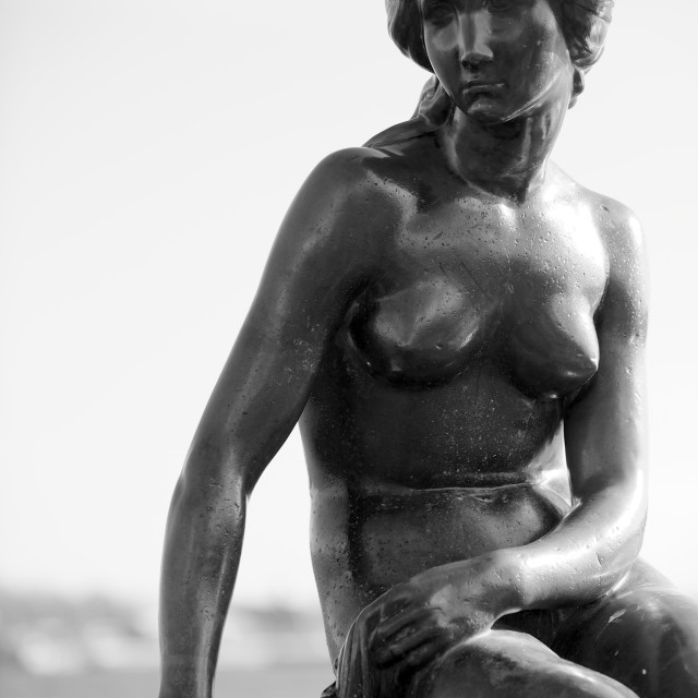 """""""Black-and-white picture of the Statue of The Little Mermaid in Copenhagen,..."""" stock image"""