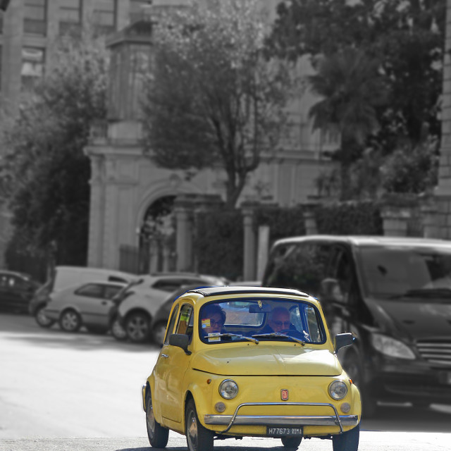 """a fiat in rome on sunday going to curch"" stock image"
