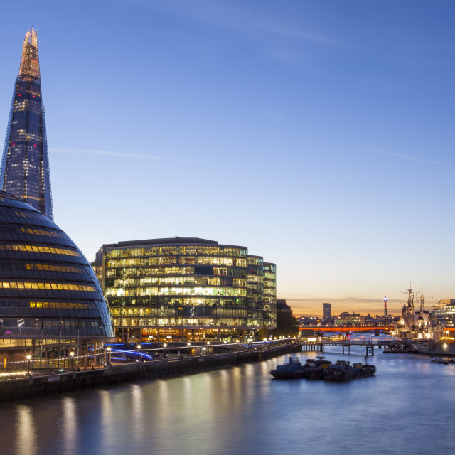"""London skyline at dusk including the GLC building, HMS Belfast and the Shard,..."" stock image"