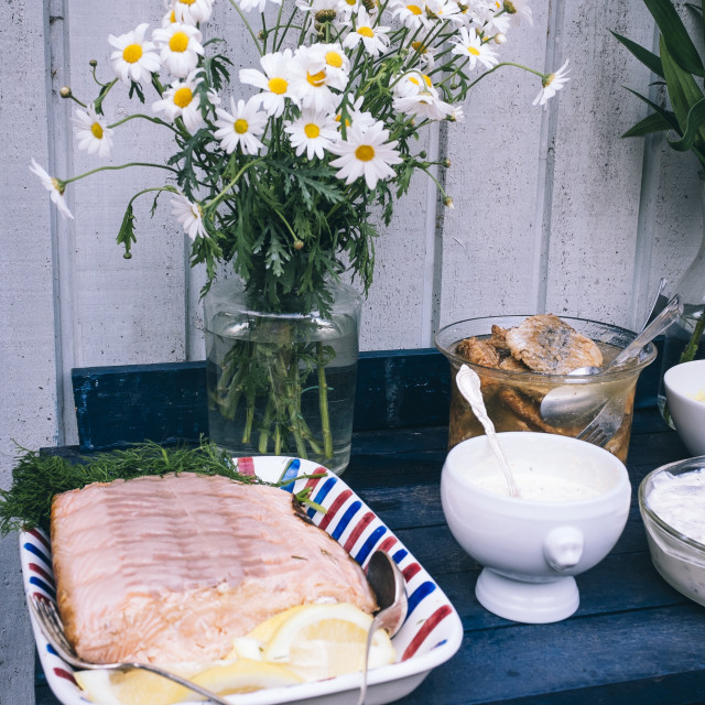 """""""Tradtional Swedish foods, including salmon fillet with lemon and herring,..."""" stock image"""