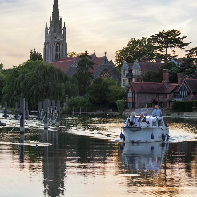"""""""Group on boat with All Saints Church in the background, Marlow,..."""" stock image"""