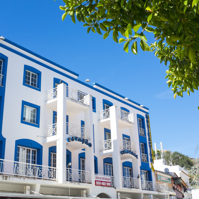 """""""Art deco inspired building in the Old Town, Albufeira, Algarve, Portugal, Europe"""" stock image"""