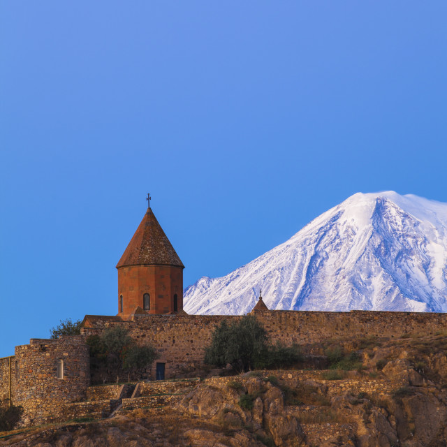 """Khor Virap Armenian Apostolic Church monastery, at the foot of Mount Ararat,..."" stock image"