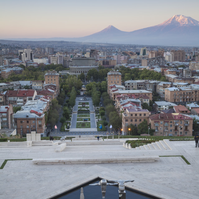 """View of Yerevan and Mount Ararat from Cascade, Yerevan, Armenia, Central..."" stock image"