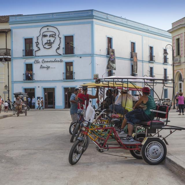 """""""Bici-taxis in Plaza de los Trabajadores, Camaguey, Camaguey Province, Cuba,..."""" stock image"""
