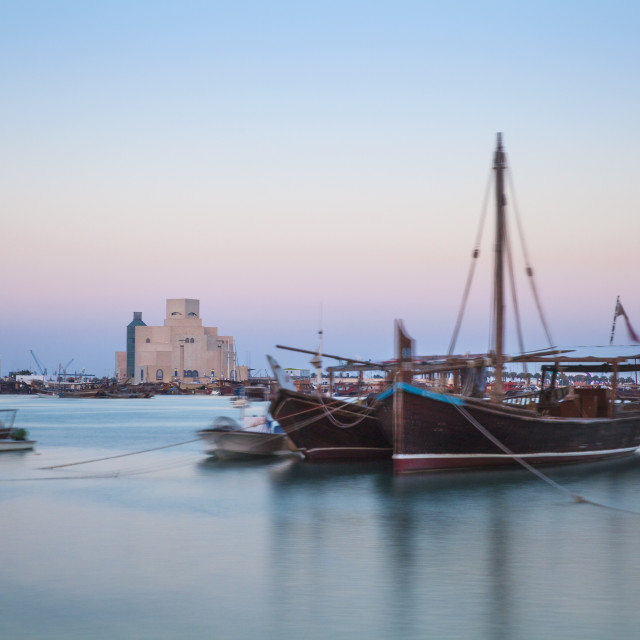 """""""Boats in Doha Bay and Museum of Islamic Art, Doha, Qatar, Middle East"""" stock image"""
