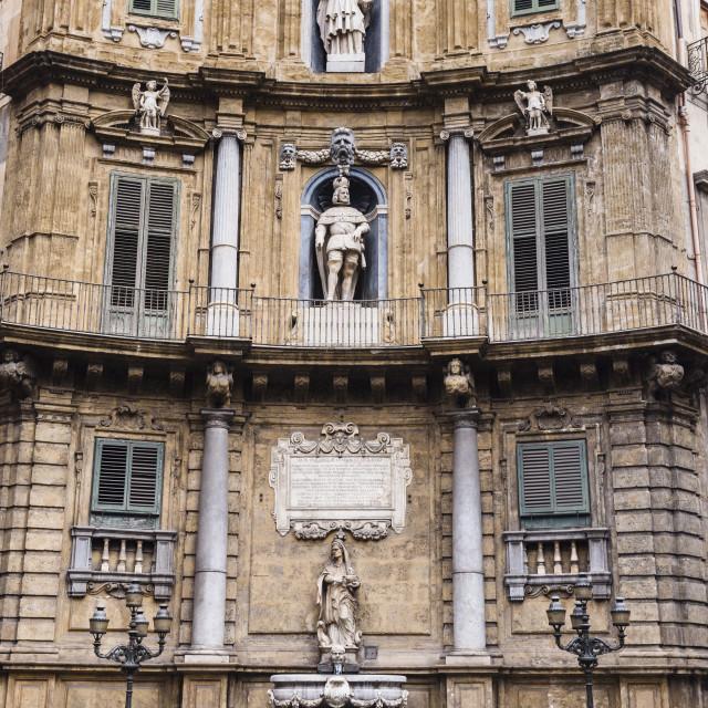 """""""Quattro Canti (The Four Corners), Piazza Vigliena, a Baroque square at the..."""" stock image"""