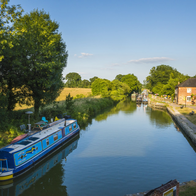 """""""Kennet and Avon Canal at Pewsey near Marlborough, Wiltshire, England, United..."""" stock image"""