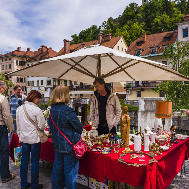 """""""Ljubljana Sunday antiques and flea market held on the Breg Embankment in the..."""" stock image"""