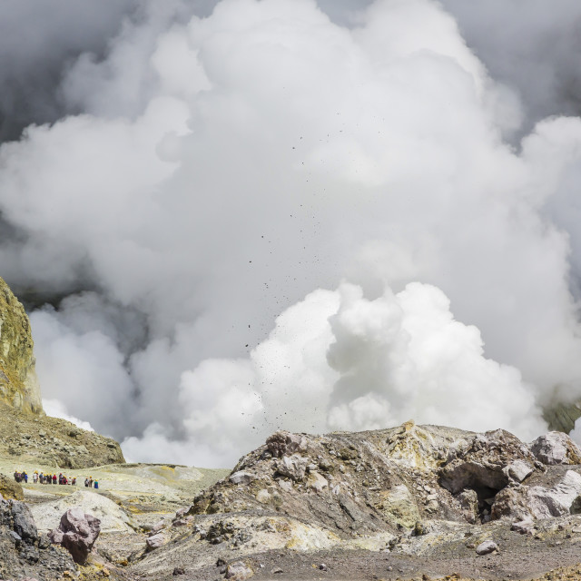 """Visitors to an active andesite stratovolcano on White Island, off the East..."" stock image"