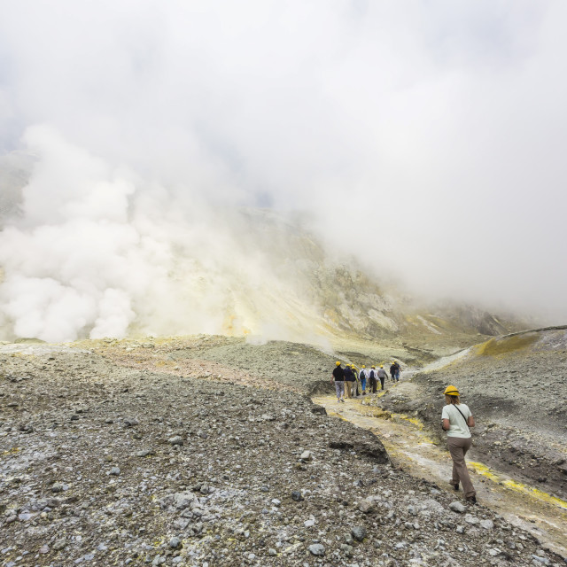 """Visitors at an active andesite stratovolcano on White Island, North Island,..."" stock image"