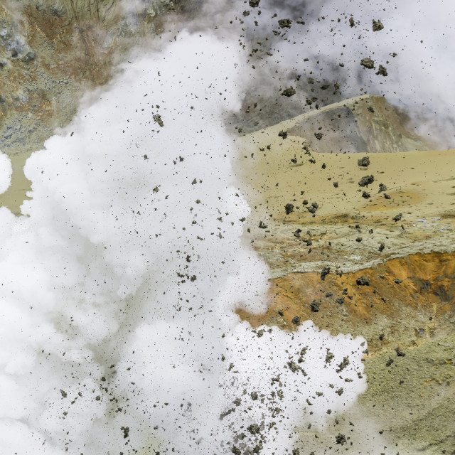 """Mud being ejected from the caldera floor of an active andesite stratovolcano..."" stock image"