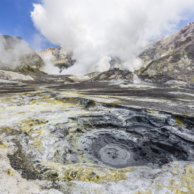 """Boiling mud at an active andesite stratovolcano on White Island, off the east..."" stock image"