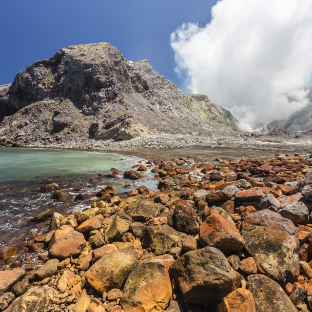 """An active andesite stratovolcano on White Island, off the east side of North..."" stock image"