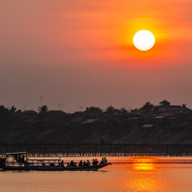 """Sunset at Kampong Cham on the Mekong River, Kampong Cham Province, Cambodia,..."" stock image"