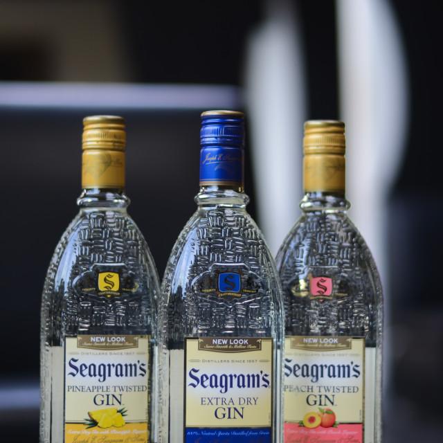 """Seagram Gin Bottles"" stock image"