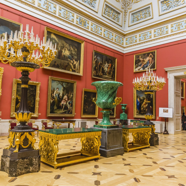 """Interior view of the Winter Palace, The Hermitage, UNESCO World Heritage..."" stock image"