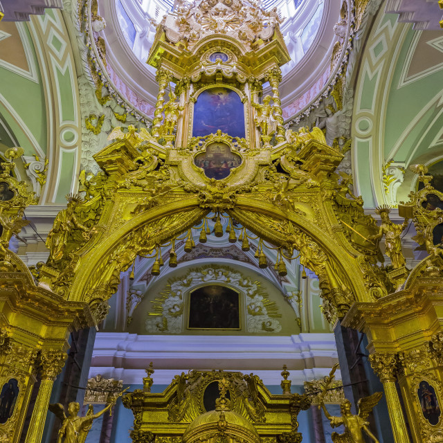 """""""Interior view of the opulence of the cathedral of Saint Peter and Paul, St...."""" stock image"""