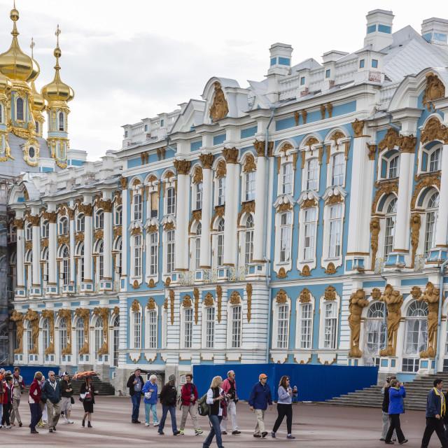 """Entrance to the Catherine Palace, Tsarskoe Selo, St. Petersburg, Russia, Europe"" stock image"