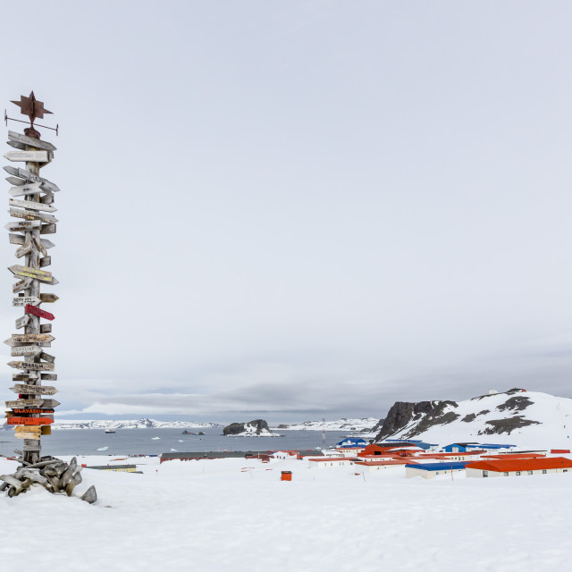 """""""Chilean Research Station Frei Base, King George Island, South Shetland Island..."""" stock image"""