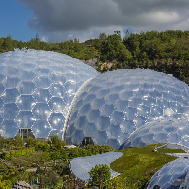 """The Eden Project, the complex consists of huge greenhouse domes simulating..."" stock image"