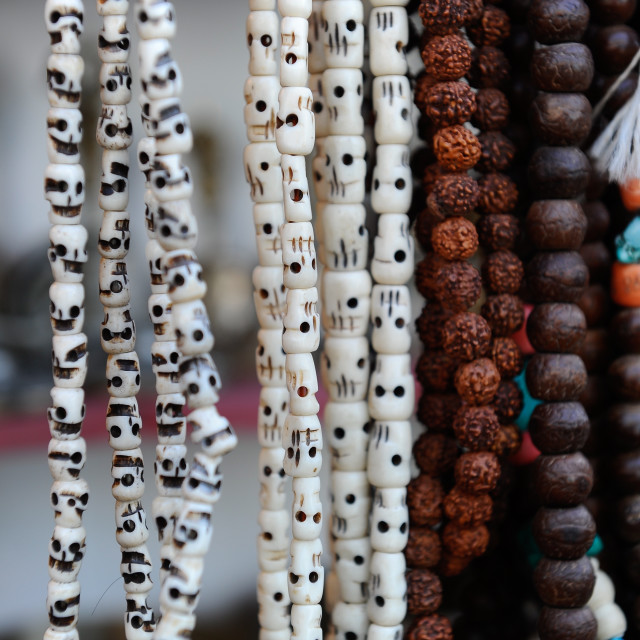 """Buddhist prayer beads, Dharamsala, Himachal Pradesh, India, Asia"" stock image"