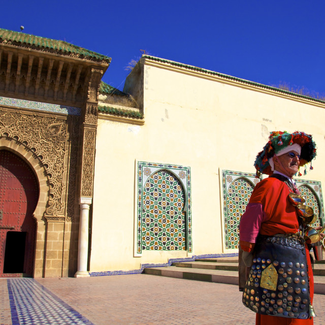 """Water Carrier in from of Mausoleum of Moulay Ismail, Meknes, Morocco, North..."" stock image"