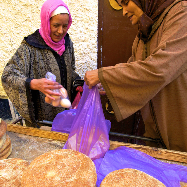 """""""Traditional Moroccan bread stall, Meknes, Morocco, North Africa, Africa"""" stock image"""