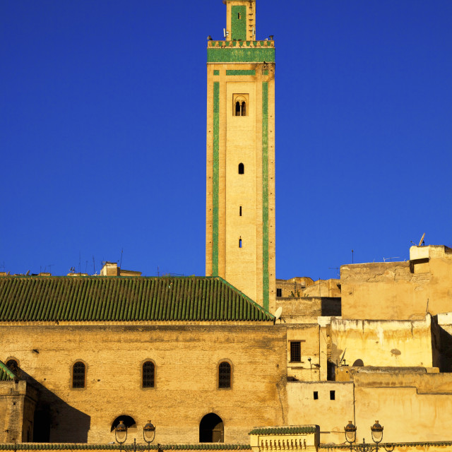 """Mosque R'Cif, R'Cif Square (Place Er-Rsif), Fez, Morocco, North Africa, Africa"" stock image"