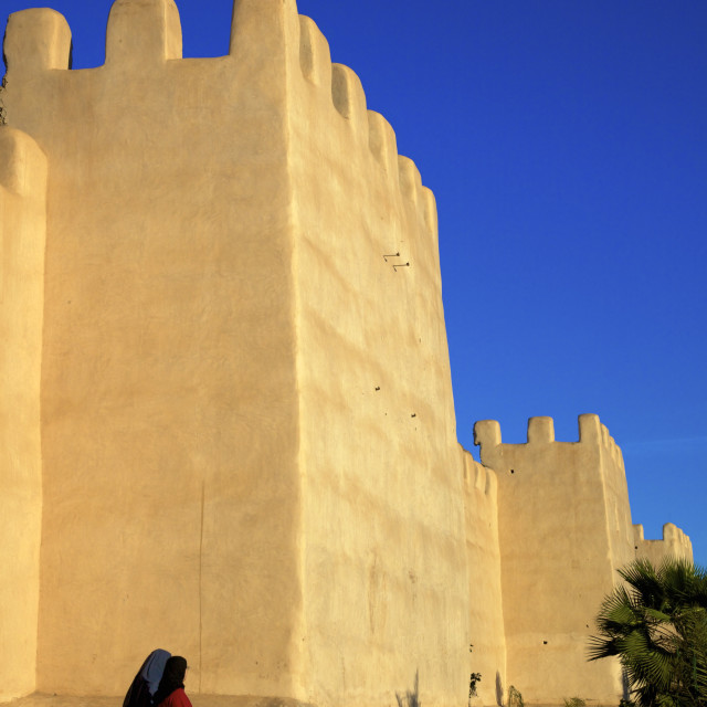 """""""Women in traditional dress with Old City wall, Taroudant, Morocco, North..."""" stock image"""