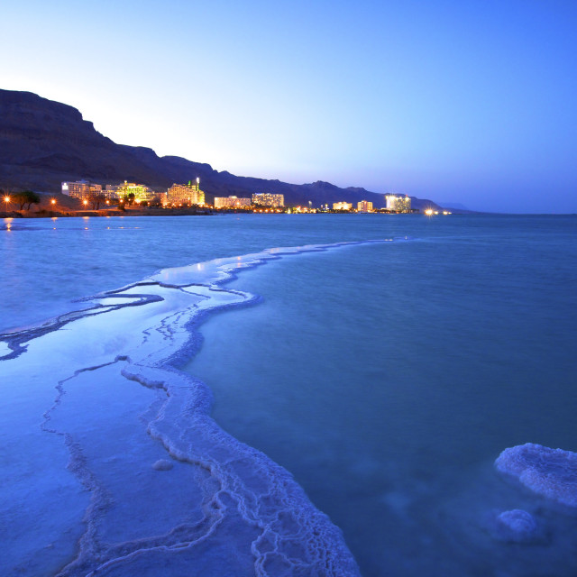 """Salt deposit in foreground looking towards Ein Bokek, Ein Bokek, Dead Sea,..."" stock image"