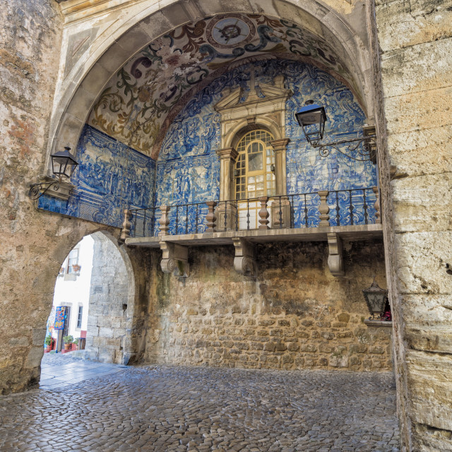 """Porta da Vila decorated with azulejos, Obidos, Estremadura , Portugal, Europe"" stock image"