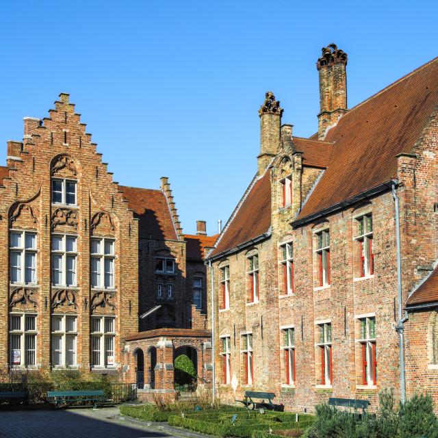 """Old Saint John Hospital, Historic center of Bruges, UNESCO World Heritage..."" stock image"