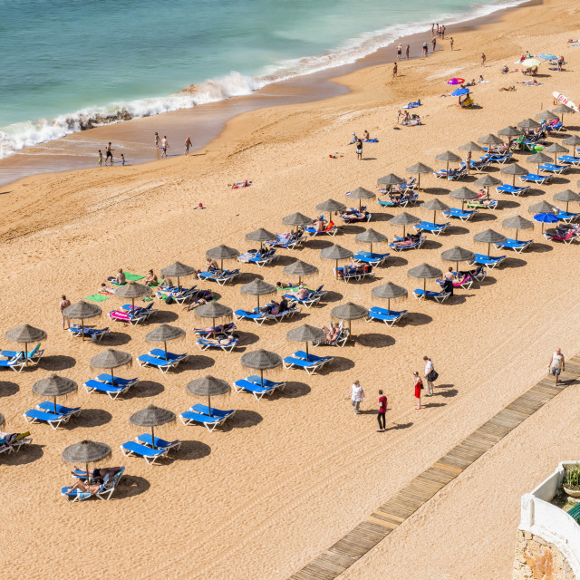 """Fisherman beach, Umbrellas and beach chairs, Albufeira, Algarve, Portugal,..."" stock image"