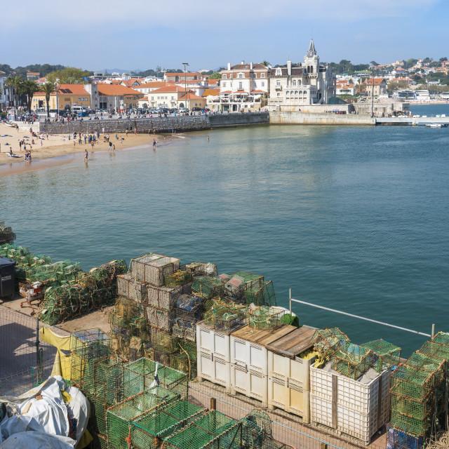 """Cascais Pier and Beach, Cascais, Lisbon Coast, Portugal, Europe"" stock image"