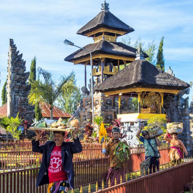 """Believers in the Pura Ulun Danu Batur temple, Bali, Indonesia"" stock image"