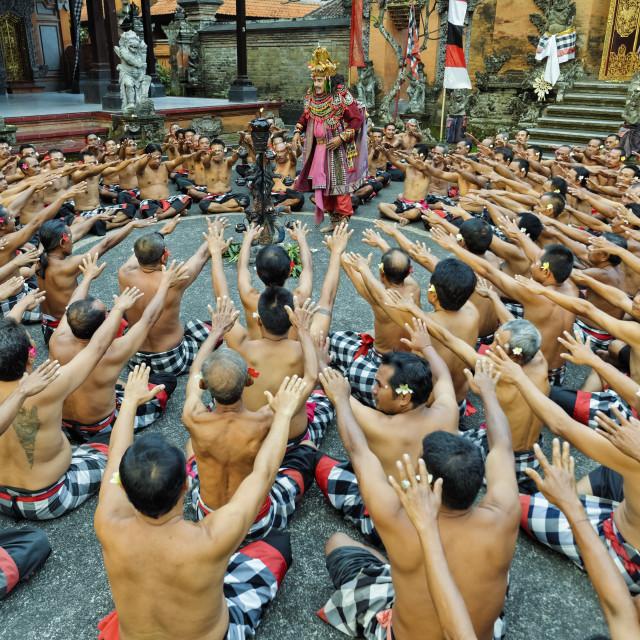 """""""Performance of the Balinese Kecak dance, Ubud, Bali, Indonesia"""" stock image"""
