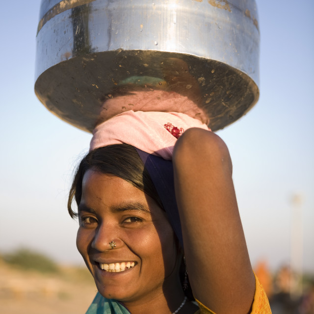 """""""Young woman collecting water, Jaisalmer, Western Rajasthan, India, Asia"""" stock image"""