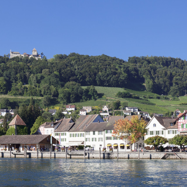 """Old town along the Rhine promenade with Burg Hohenklingen castle, Stein am..."" stock image"