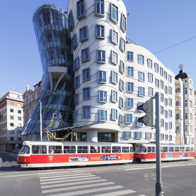 """""""Tram in front of the Dancing House (Ginger and Fred) by Frank Gehry, Prague,..."""" stock image"""
