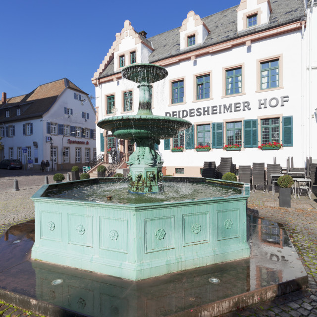 """Andreasbrunnen fountain and Deidesheimer Hof Hotel, Deidesheim, German Wine..."" stock image"