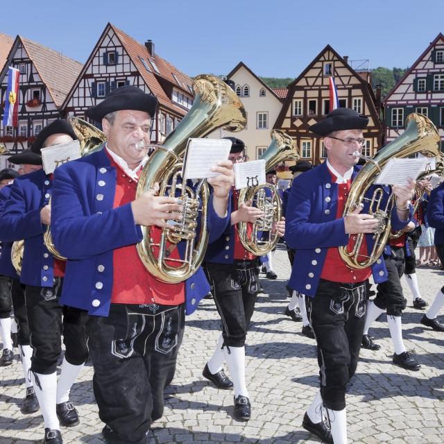 """""""Historical parade at Bad Urach Schaferlauf, Bad Urach Swabian Alb, Baden..."""" stock image"""