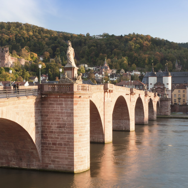 """""""Karl Theodor Bridge with Stadttor gate, castle and Heilig Geist Church,..."""" stock image"""