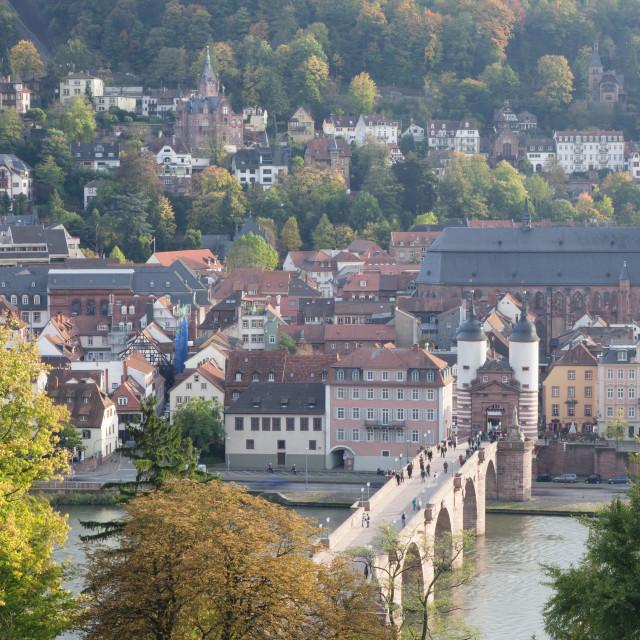 """Karl Theodor Bridge with Stadttor gate and Heilig Geist Church, Heidelberg,..."" stock image"