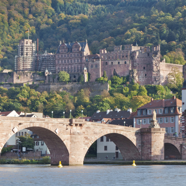 """Neckar River with Karl Theodor Bridge, Stadttor gate and castle, Heidelberg,..."" stock image"