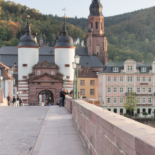 """Karl Theodor Bridge with Stadttor gate and Heilig Geist Church, Heidelberg,..."" stock image"