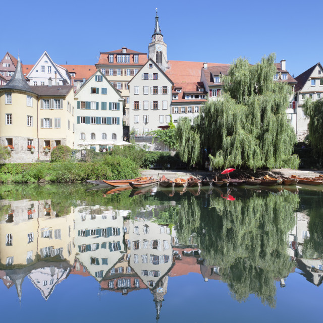 """""""Old town with Holderlinturm tower and Stiftskirche Church reflecting in the..."""" stock image"""