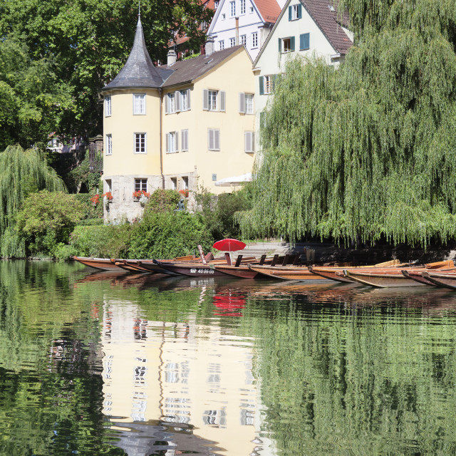 """""""Old town with Holderlinturm tower reflected in the Neckar River, Tubingen,..."""" stock image"""