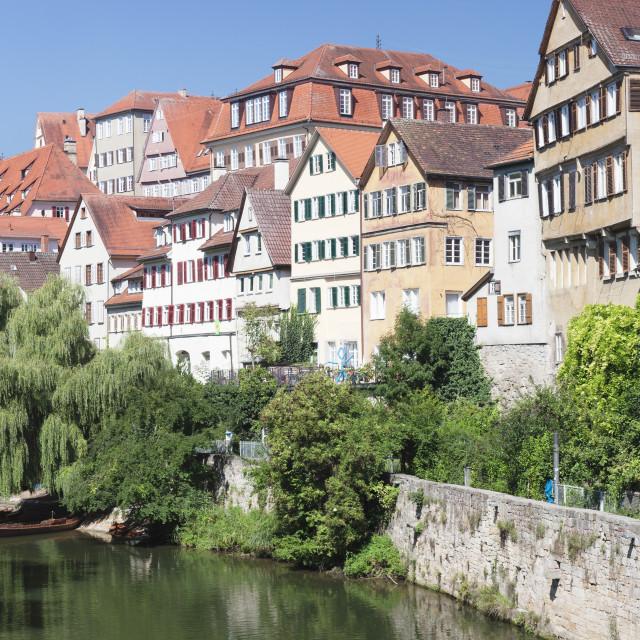 """""""Tubingen Altstadt and Holderlinturm tower by the Neckar River, Tubingen,..."""" stock image"""