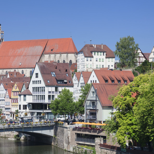 """""""Old town with Stiftskirche Church and the Neckar River, Tubingen, Baden..."""" stock image"""